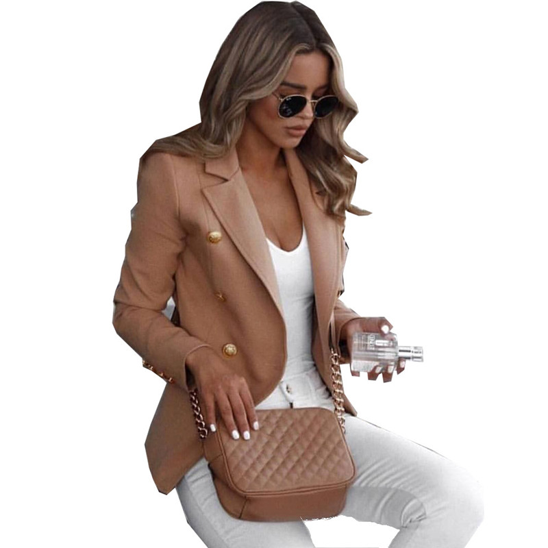 Oufisun Suit Blazer Jacket Women's Fashion Solid Business Slim Suit Blazers Fashion Simple Single Breasted Female Tops Plus Size