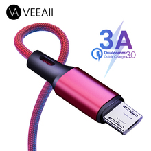 VEEAII 3A Data Cable Charger Micro USB for Samsung S8 Xiaomi Redmi 7 Android Charging 1M 2M 0.25M Mobile Phone Cord