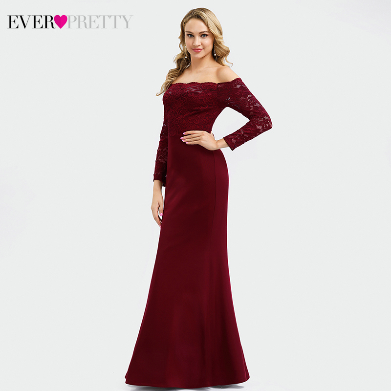 Burgundy Lace Evening Dresses Long Ever Pretty EP00805BD Off Shoulder Full Sleeve Elegant Mermaid Party Gowns Gala Jurken Dames in Evening Dresses from Weddings Events