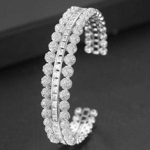 Image 5 - GODKI Trendy Luxury Stackable Bangle Cuff For Women Wedding Full Cubic Zircon Crystal CZ Dubai Bracelet Party Jewelry2019