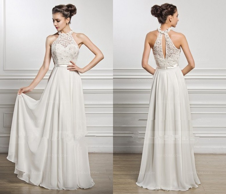 2018 Sexy Lace Chiffon A Line Long Bridal Gown Vestido De Noiva Halter Sleeveless Custom Plus Party Gowns Bridesmaid Dresses