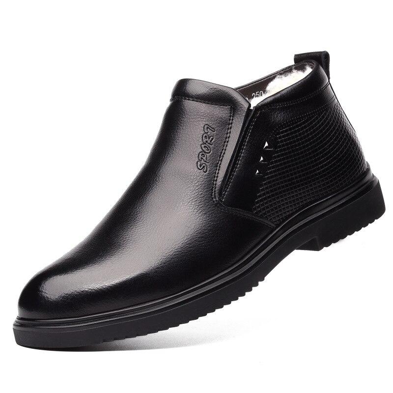 2019 à la main hommes en cuir véritable bottes d'hiver chaud neige hommes bottes bottines pour hommes d'affaires chaussures habillées