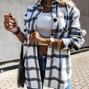 Women's Shirt 2020 Oversize Female Clothing Wool Blends Check  Top Plaid Long Sleeve Jacket Loose Ladies Coat Autumn Winter