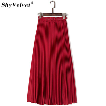 bastante agradable 7a54e 19974 Faldas largas plisadas mujer gasa cintura elástica verano todo fósforo tul  sólido Maxi falda con cinturón falda caqui negro rosa