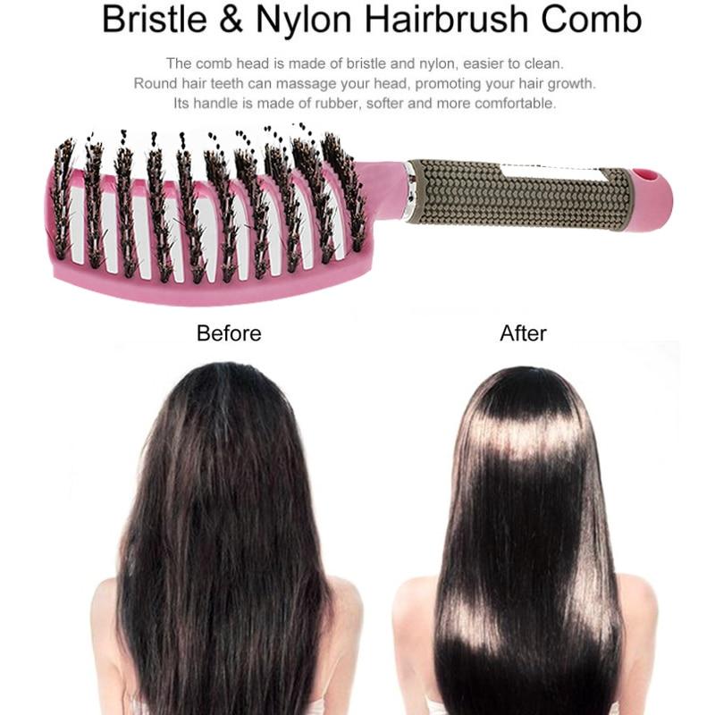 Scalp Massage Tangle Teaser Hair Brush Comb Bristle Nylon Women Detangler Hair Brush Hairdressing Styling Tools Tangle Tezzer 3