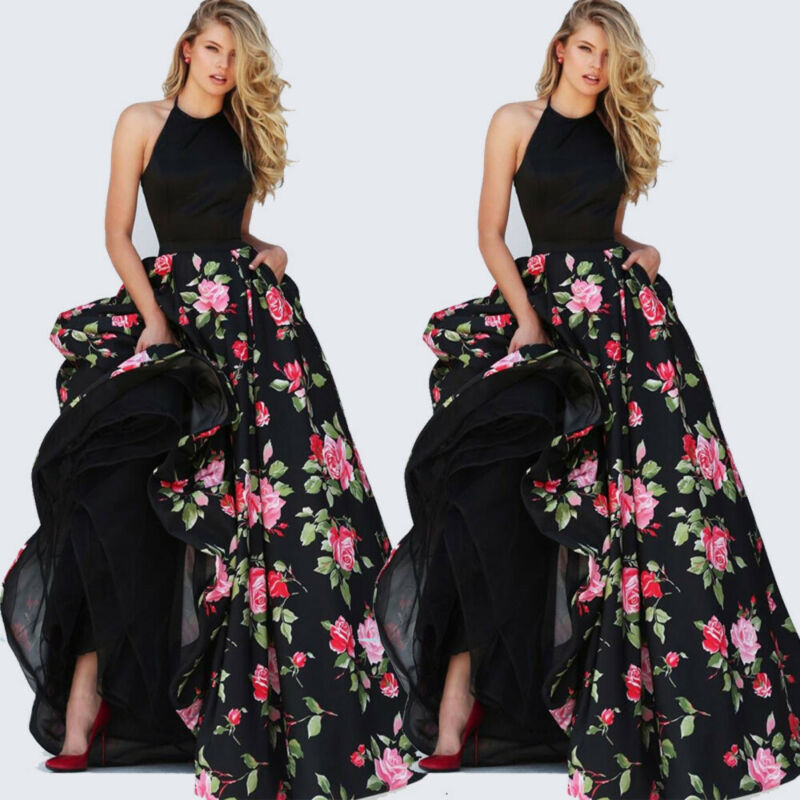 2019 Women Lady Satin Floral Long Black Print Backless Maxi Dress Club Wear Evening Party Gown