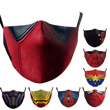 Adult Kid Mouth Superhero Deadpool Mask Pm2.5 Mask Woman Print Washable Carbon Filter Reusable Fabric Face Mask image