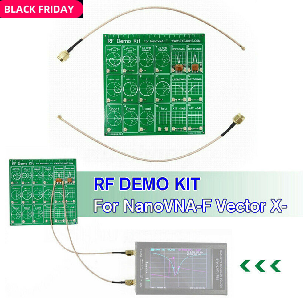 RF Demo Kit Radio Frequency PCB RFTest Board Filter Attenuator For VNA-F NanoVNA PCB RF Tester Board With 2 *20cm Adapter Cables