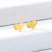 Cute Heart Stud Earrings Romantic Small Gold Silver Mosaic cartoon Lovely Shaped Women Stainless Steel Party
