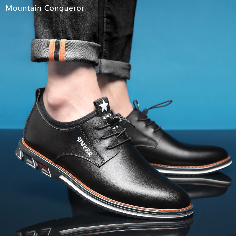 Mountain Conqueror Split Leather Men Casual Shoes 2019 Brand Mens Loafers Moccasins Breathable Slip On Flats Driver Shoes