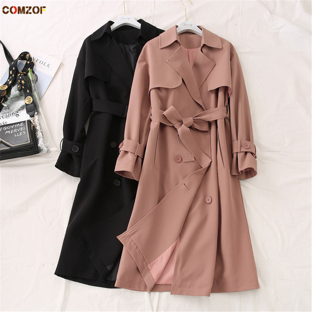 Plus Size Women Long Trench Coat 2020 Spring Newest Casual Windbreaker Tops Coats Womens Fashion Clothing Casacos Feminino