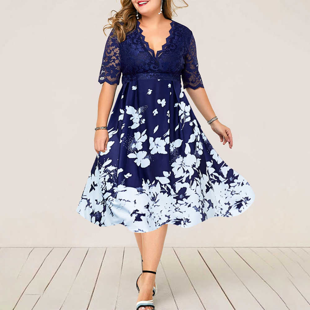 2019 Plus Size Fashion Women Summer Dress Flower Printed Sexy Lace Evening Party Lady Midi Dress Elegant Female Mid Calf Dress