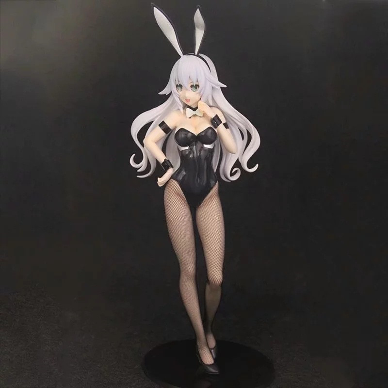 <font><b>1/4</b></font> <font><b>Sexy</b></font> Anime Beautiful Bunny Girl Black Heart PVC 43 CM Hard Chest White Hair Ver. Action Figure Collect Model Christmas Toy image