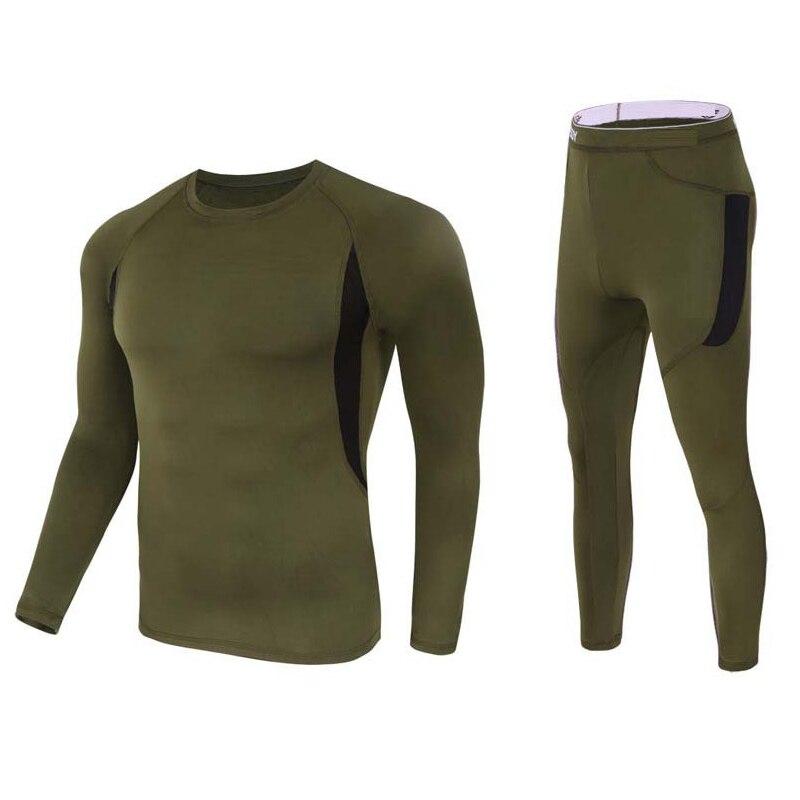 Thermal Underwear Men Winter Thermal Clothing Fleece Long Johns Winter Thermal Underwear Compressed Sportswear Base Layer Warm