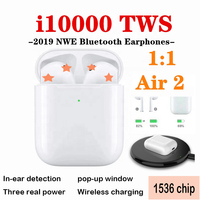 i10000 tws 1:1 Bluetooth Earphone Air 2 Smart Sensor Wireless Headphone Pop up Headset Wireless Charging Earbuds PK i i200 i1000