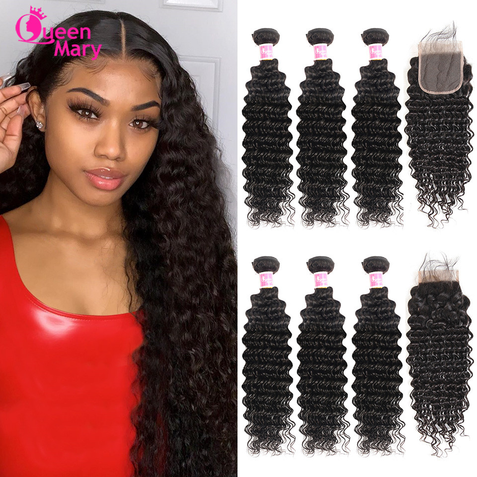 Brazilian Deep Wave Bundles With Closure Non Remy Human Hair 3 And 4 Bundles With Lace Closure Queen Mary Human Hair Extensions