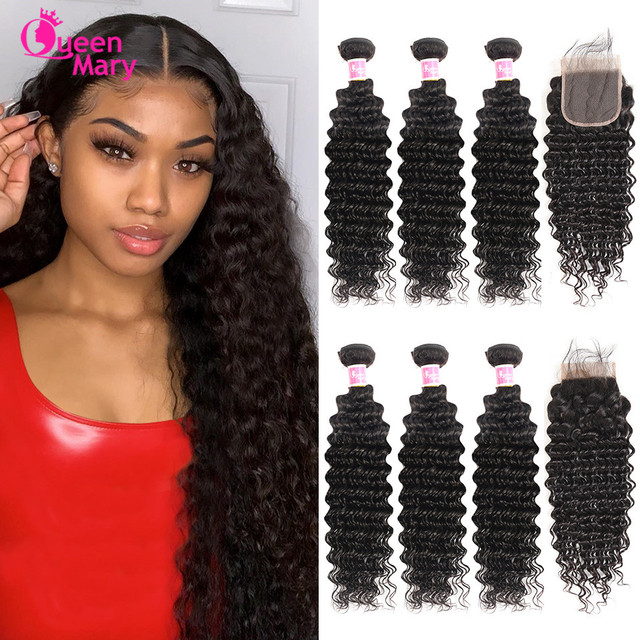 $ US $47.84 Brazilian Deep Wave Bundles With Closure Non Remy Human Hair 3 and 4 Bundles With Lace Closure Queen Mary Human Hair Extensions
