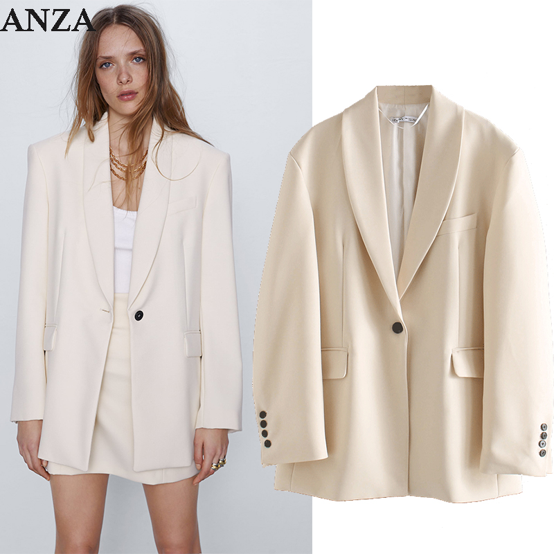 ZA 1:1 Women Blazer With Single Button Pocket Casual Loose Cream Coat 2020 New Summer Office Wear Elegant Blazer