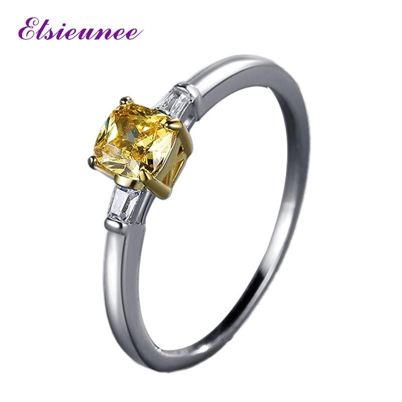 ELSIEUNEE новое кольцо из стерлингового серебра 925 пробы 5x5 мм цитрин драгоценный камень крошечные обручальные кольца для женщин пары хорошее юв...