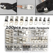 100Pcs SC Bare Terminals Tinned Copper Lug Ring Seal Wire Connectors Bare Cable Crimped/Soldered Terminal Assorted Kit