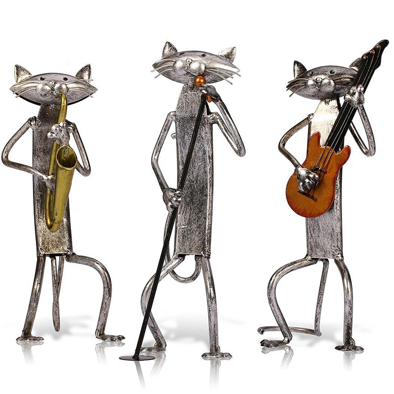 Metal Statue Popular a Play Guitar Saxophone Singing Cat Statue Decoration Supplies Home Decoration Craft Gift Band Cat 1 Set 3|Figurines & Miniatures| |  - title=