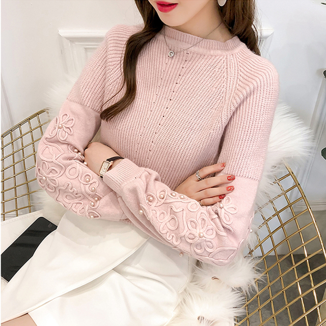 Ailegogo Womens Sweaters 2019 Autumn Winter Beaded Tops O Neck Women Soft Warm Pullover Jumper Knitted Sweater Knitwear 1
