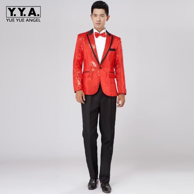 New Mens Boys Bling Sequins Tuxedo Suit Gangnam Style Jacket One Button Wedding Coat Size M L XL Chaqueta JAQUETA