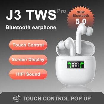 J3 pro Original TWS Wireless Bluetooth 5.0 Earphone Sports Sweatproof Touch Portable Earbuds for i10 i12 фото