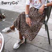BerryGo VINTAGE Leopard พิมพ์กระโปรง Midi กระโปรงผู้หญิง Punk แฟชั่นกระโปรงเกาหลี 2018 เซ็กซี่สูงเอวสุภาพสตรี Retro กระโปรงฤดูใบไม้ร่วง