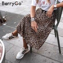 تنورة متوسطة الطول بطبعة الفهد عتيقة للسيدات من BerryGo تنورة كورية عتيقة على الموضة لعام 2018 تنورات خريفي كلاسيكية ذات ثنيات للسيدات عالية الخصر جذابة