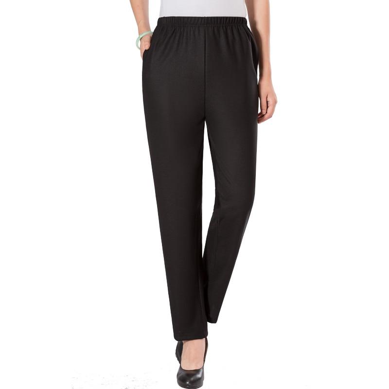 Elderly Women Winter Pants Black Thick Fleece High Elastic Waist Warm Trousers Mom Grandmother Thicken Pockets Bottoms Plus Size