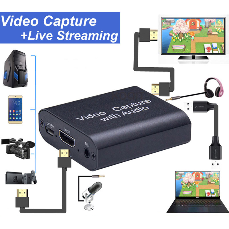 HDMI-compatible video capture card USB3.0 audio device captures switch/PS4 game 1080p 30fps 4K video Loop Out for Live Streaming 3
