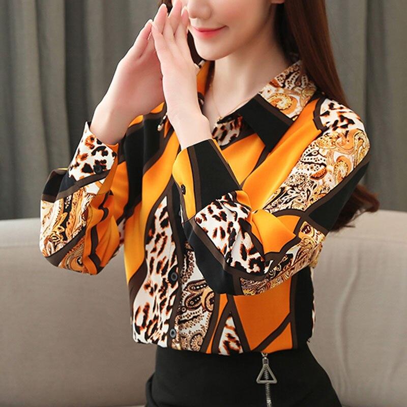 2021 Blouse Women Fashion Chiffon Shirts Women Office Lady Tops Spliced Leopard Blusas Femininas Shirts Leopard Button 8092 50 4