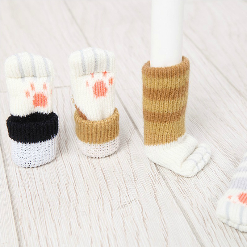 Cat Paw Knitting Wool Furniture Cover Socks Floor Protector Chair Table Leg Pads