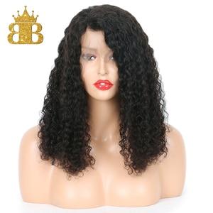 Image 2 - 13x4 תחרה מול שיער טבעי פאות ברזילאי שיער עמוק קרלי Glueless קצר בוב תחרת פאה עם תינוק שיער רמי שיער מראש קטף ביב
