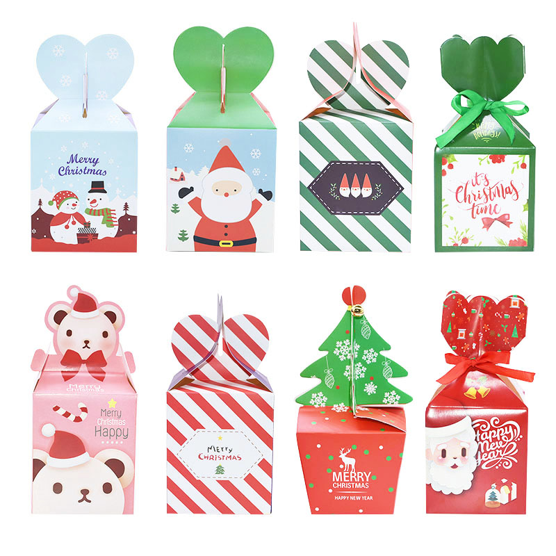 5pcs Christmas Candy Gift Boxes Bag Xmas Tree Cookie Wrapping Bags Merry Christmas Guests Apple Gift Packaging Boxes Party Decor