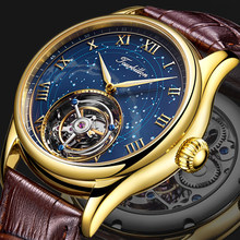 100% real original tourbillon movimento mecânico masculino relógios de luxo safira céu estrelado caso ouro relógio men zegarek męski