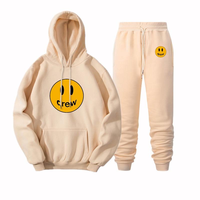 2020 Hip Hop Hoodie + Pants Men Women Suit Justin Bieber Drew House Smile Face Print Pullover Streetwear Mens Womens Sportswear