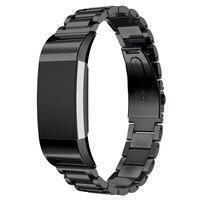 Luxus Ersatz Edelstahl Uhr Band Strap Für Fitbit Gebühr 2  Schwarz