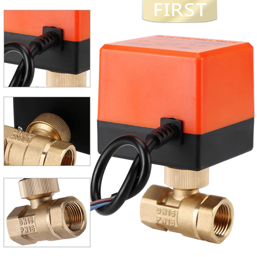 DN15 / DN20 / DN25 AC 220V 2 Way 3-wire Motorized Ball Valve Brass Electric Valve For Water Control With Actuator Cable