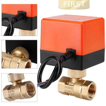 DN15 / DN20 / DN25 AC 220V 2 way 3-wire motorized ball valve brass electric valve for water control with actuator cable ac220v dn15 dn20 dn25 2 way 3 wires brass motorized ball valve electric actuato with manual switch 101415