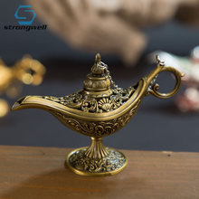 Strongwell Aladin Lamp Traditional Hollow Out Fairy Tale Magic Lamp Teapot Genie Lamp Vintage Retro Toy For Home Decor(China)