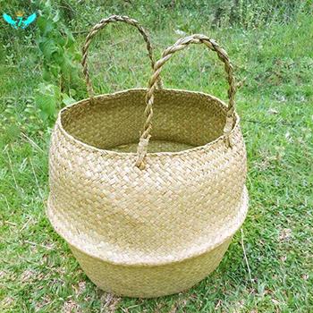 Trawa morska tkany pojemnik do przechowywania Tote okrągły kosz do przechowywania pralnia piknik donica na rośliny pokrywa i torba na plażę HTML tanie i dobre opinie X9577 VINE