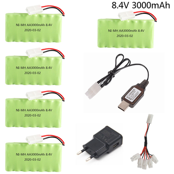 8.4V 3000mah Ni-MH Battery with 8.4v Charger cable For Rc toy Car Boat Gun Tanks Trains Robot AA 8.4v high capacity Battery Pack image