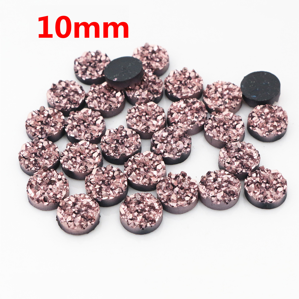 New Fashion 10mm 40pcs Rose Gold Colors Natural Ore Style Flat Back Resin Cabochons For Bracelet Earrings Accessories T3-13