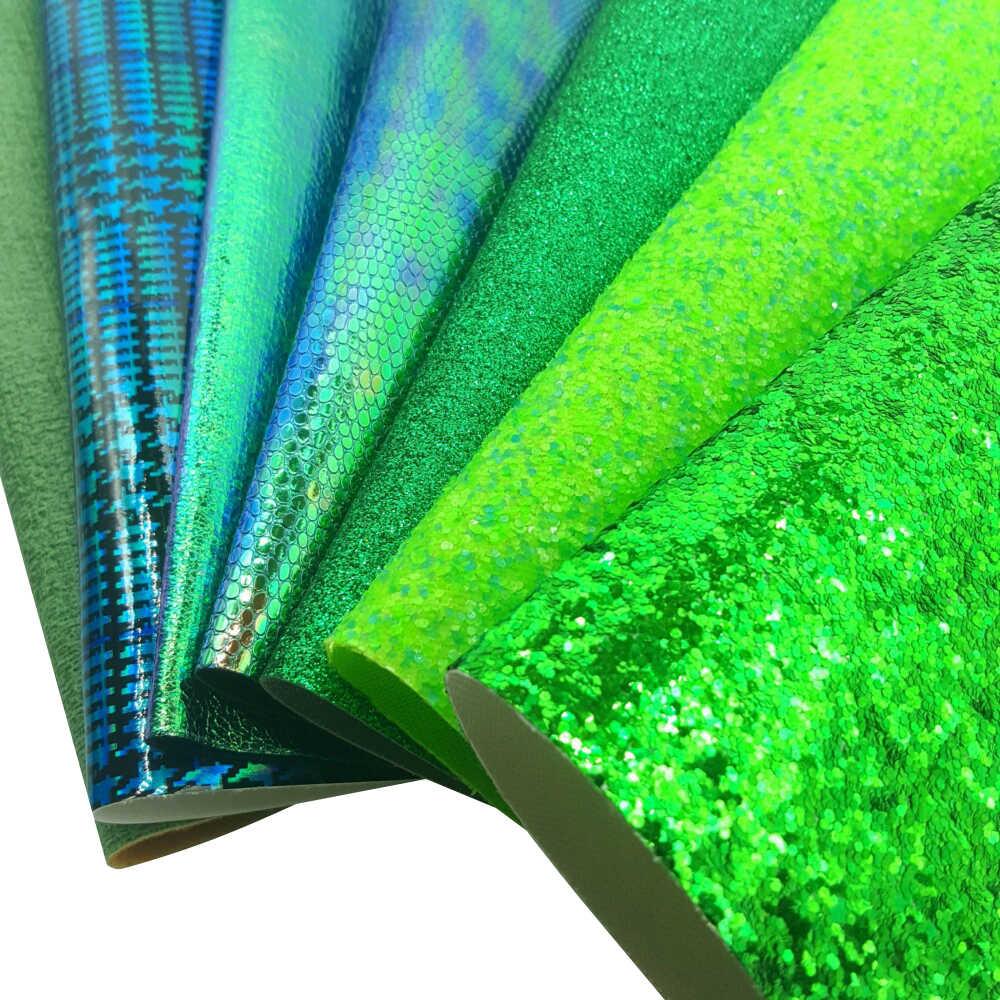 QIBU зеленые листы из искусственной кожи, виниловая ткань, сделай сам, материал для волос, бант, ручная работа, обувь, сумка, украшение, А4, бант, ткань, синтетическая кожа