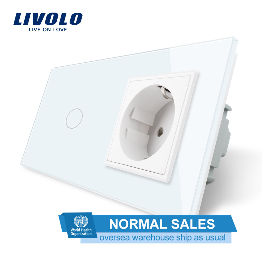 Livolo стандарт ЕС сенсорный выключатель, белая Хрустальная стеклянная панель, AC 220 ~ 250V 16A настенная розетка с выключателем света, C701-C1EU-11