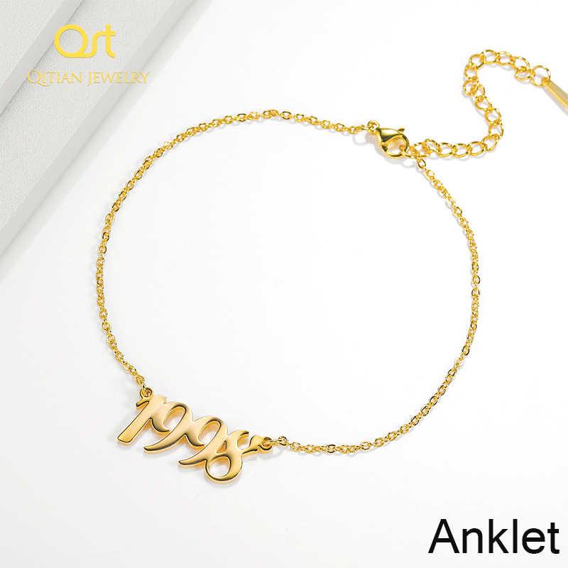Spersonalizowana nazwa Anklet i rok obrączki złoty kolor dostosowane tabliczka znamionowa bransoletki dla pary biżuteria ze stali nierdzewnej