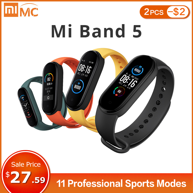 Xiaomi Mi Band 5 Smart Bracelet 4 Color AMOLED Screen Miband 5 Smartband Fitness Tracker Bluetooth Sport Waterproof Smart Band|Smart Wristbands| - AliExpress
