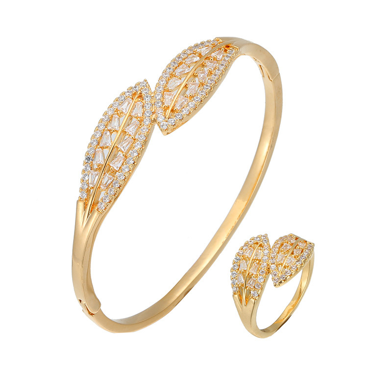 HONGHONG Women's leaf bracelet ring two piece set high quality 3A zircon ring bracelet set temperament fashion fashion jewelry